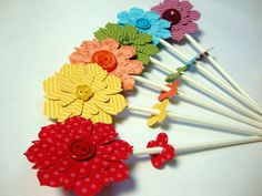 Flower pops set of 6 por PaperPolaroid en Etsy