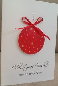 5-x-Handmade-Personalised-Christmas-Cards-Glitter-Bauble-Friends-Family