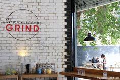Shoreditch Grind by Petite Passport Restaurant Branding, Cafe Restaurant, London Coffee Shop, Coffee Shops, Coffee Shop Furniture, Small Restaurant Design, London City Guide, London Brands, Cafe Interiors