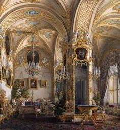 a-l-ancien-regime: Interiors of the Winter Palace. The Drawing Room in Rococo II Style, with Cupids - Edward Petrovich Hau - Hermitage Museum (1860s)