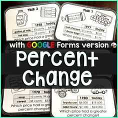"""*Now includes a paper   a GOOGLE Forms version in the download.Students find percent change between """"then and now"""" costs of 2 items listed on each card. They then compare the percent increases to determine which item's cost increased the most over the years. Students compare prices of food, cars, ho... Teaching Math, Teaching Resources, Percent Of Change, Consumer Math, 7th Grade Math, Percents, Financial Literacy, Task Cards, Students"""