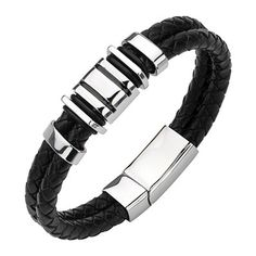 Forziani Premium Italian Nappa Leather Wrap Bracelet for Men Adjustable Size Genuine Black and Blue Chevron Woven Pattern Leather Wristband Luxury Gift Packaging Included