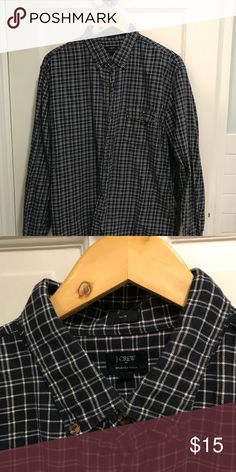 3e9628e6c62 J crew men s flannel Navy and white slim fit men s flannel J. Crew Shirts  Casual Button Down Shirts