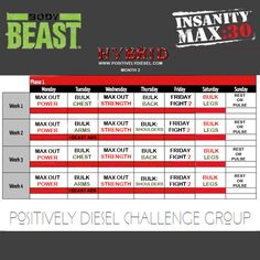 Max 30 / Body Beast Hybrid | Positively Diesel...Where Strength & Positivity Collide Beauty Routine Calendar, Beauty Routine Schedule, Everyday Beauty Routine, Beauty Routines, Skincare Routine, Workout Calendar, Workout Schedule, Schedule Calendar, Insanity Max 30 Schedule
