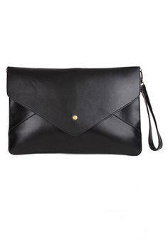 Plain Leather Envelope Clutch
