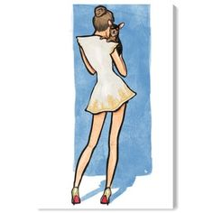Obraz Oliver Gal Cal White Dress Bestie, 25 x 38 cm