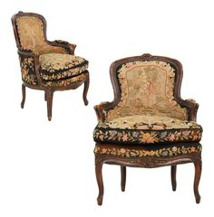 French Louis XV Carved Fruitwood Bergeres - A Pair on Chairish.com