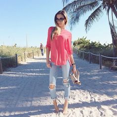 Winter? What Winter? @jasmine_tosh soaking up the sun in Pleione! #ootd #blouse #coral #beach #walks #everydayperfection #jasminetoshfashion #fashion #style #nordstrom #bloggerstyle
