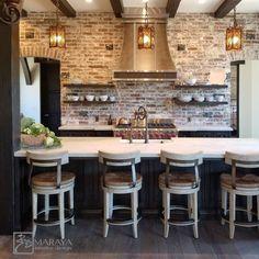 Spanish Mansion, Whitewashed Brick, Jean Shrimpton, Ranch Kitchen, Horse Ranch, Contemporary Kitchen Design, Hospitality Design, Great Friends, Brick Wall