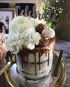 Hand Painted Rose Gold Drip, White Chocolate Ganache, Chocolate Cake, Fresh Florals, Meringue - Bridal Shower Cake