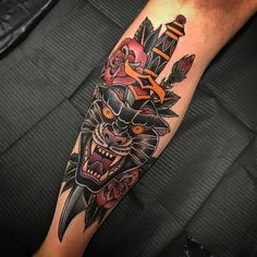 "2,610 Likes, 7 Comments - TattooSnob (@tattoosnob) on Instagram: ""Panther Action by @mwestrup at @thankyoutattoo in Copenhagen, Denmark. #panther #knife #dagger…"""