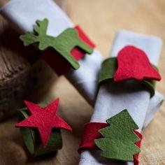 Christmas napkin rings – 45 festive DIY ideas to imitate – Decor Christmas Napkin Rings, Christmas Napkins, Felt Christmas, Christmas Time, Felt Crafts, Diy And Crafts, Christmas Crafts, Christmas Ornaments, Christmas Table Decorations