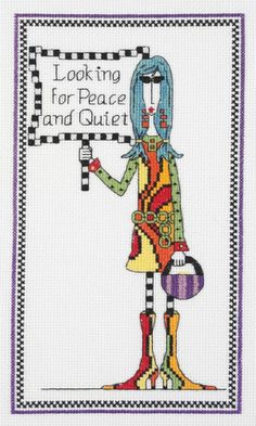 Janlynn - DOLLY MAMA'S Looking for Peace & Quiet Cross Stitch Kit # 019-0458