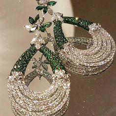 History of Earrings Emerald Earrings, Emerald Jewelry, Ear Jewelry, Fine Jewelry, Diamond Jewelry, Fancy Jewellery, Indian Jewelry, Rolex, Antique Jewelry