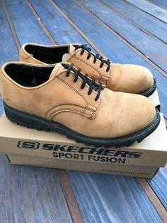 6727aa24e8 Skechers Men's Camel Brown Suede Oxford Shoe 1990's Lace Up, Size 9D,  Vintage Skechers Casual Shoe, Lace up Cleat Sole Men's Shoes