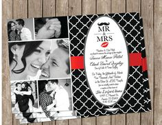 BlackWhite and Red Wedding Invitation by MissBlissInvitations, $15.00