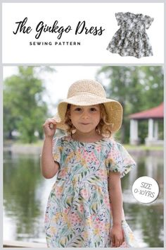 The Ginkgo Dress sewing pattern (0-10yrs). The Ginkgo Dress is lovely and airy as a leaf. It can be made as a light, summery dress, or in medium weight fabric to be used for layering as a jumper/smock on a light tee shirt. The dress has wide flared and gathered sleeves and a gathered skirt, while the waist is slightly high. The back opening has simple cute ties (or a thread loop and a small button). Sewing Patterns For Kids, Dress Sewing Patterns, Sewing For Kids, Girls Dresses, Flower Girl Dresses, Modern Kids, Our Girl, Pretty Dresses, Baby Dress