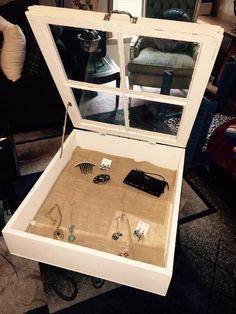 Distressed wood jewelry cabinet 4 pane by SandJBargainVault