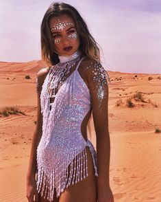 LOOK 2 introducing our desert pearl.- ✨LOOK introducing our desert pearl bodysuit & chok… ✨LOOK introducing our desert pearl bodysuit & choker. This incredible bodysuit is iridescent and changes colour… - Coachella Festival, Festival Hippie, Rave Festival Outfits, Festival Mode, Edm Festival, Rave Outfits, Festival Wear, Festival Fashion, Festival Style