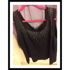 "SPARKLY TANK TOP Black with upper top sequins cotton blend tank top. Underarm to underarm 21 1/2 & length 24"" maybe worn twice!, no defects, EUC!!! Tops Tank Tops"