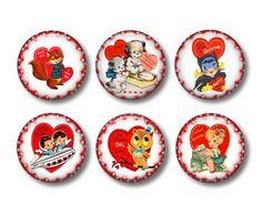 Valentine's Day Refrigerator Magnets Flat Backs Set of 6 pcs -Collection No. 4