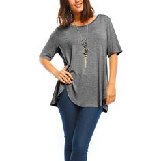 MISIA PLUS Charcoal Button-Accent Asymmetrical Tunic ($9.99) ❤ liked on Polyvore featuring plus size women's fashion, plus size clothing, plus size, asymmetrical hem tunic, stretch top, button top, women's plus size tops and asymmetrical hem top