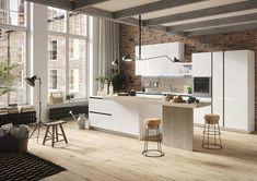 Einbauküche mit Kücheninsel und Theke