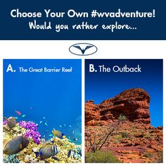 The land down under is perfect for a #wvadventure. In the comments below, tell us which #Australian #wvadventure you would choose, a visit to the #GreatBarrierReef or spend some time in the #Outback? #Australia #travel #wanderlust #YSBH #DownUnder #Aussie