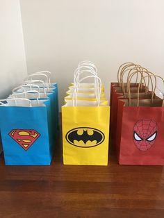 Easy DIY party bags! Superman, batman & spiderman