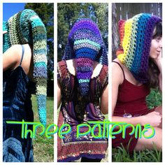 PATTERN: 3-Pack of Pixie Hoods Long Mid-Length and Pointed