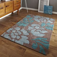 Buy Think Rugs Hong Kong Beige Blue Rug. Made from acrylic beautifull multicolored floral design. Duck Egg Living Room, My Living Room, Living Room Decor, Duck Egg Blue Lounge, Modern Rugs Uk, Brown And Blue Living Room, Turquoise, Teal, Rugs Online