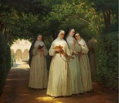 """[New] The 10 Best Home Decor Today (with Pictures) - """"Nuns walking in a cloister garden in Rome"""" circa 1866 by Danish artist Jorgen Valentin Sonne. Catholic Art, Roman Catholic, Religious Art, Nuns Habits, Religion Catolica, Bride Of Christ, Sacred Art, Christian Art, Kirchen"""