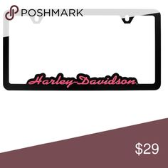 black pink harley davidson license plate frame black powder coated frame with pink