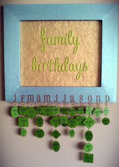 My version of the birthday reminder board. Got all the supplies at JoAnn, plus a couple of things I had at home.