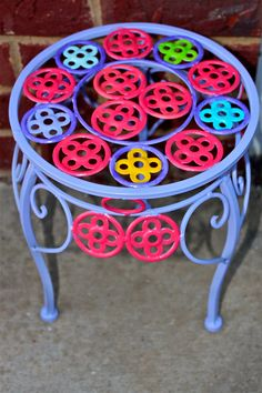 Purple Plant Stand/ Pink Accent/ Patio Decor/ Bright pinkCircles