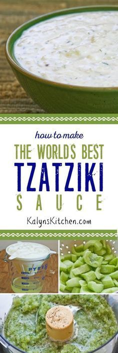 How to Make the World's Best Tzatziki Sauce (Greek Yogurt and Cucumber Sauce). This is one of the most popular posts on my blog because homemade Tzatziki is so delicious and it's good on so many things! [KalynsKitchen.com]