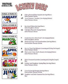 Activity Days Activity Ideas