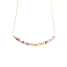 """JULIA SZENDREI PURPLE AMETHYST MORSE CODE NECKLACE February's Birthstone. 17.5"""" set length 14K gold filled chains. Natural amethyst gemstones paired with gold bronze beads. Dits and Dashes represent the Morse Code of your choice. LOVE, JOY, BLESSED, FAMILY, XOXO, STRENGTH. Shop Now www.juliaszendrei.com"""