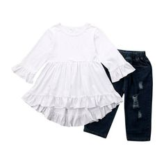 citgeett Toddler Baby Girls Denim Outfits Off Shoulder Tube Top Ripped Jeans Pants Set Kids Summer Clothes, Winter Outfits For Girls, Spring Outfits, Baby Girl Pajamas, Baby Girls, Kids Girls, Pants Outfit, Outfit Sets, Toddler Outfits, Kids Outfits