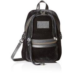 Marc by Marc Jacobs Domo Biker Velvet Cross Biker Fashion Backpack ($348) ❤ liked on Polyvore featuring bags, backpacks, lightweight cross body bag, backpack crossbody, backpack bags, crossbody bags and velvet bag