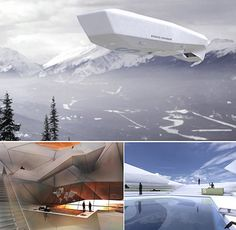 Strato Cruiser Airship... by Tino Schaedler and Michael J Brown is a concept yet this luxury helium-filled airship will feature a gourmet restaurant, a spa, a swimming pool, a resident DJ, library, and private mini-offices, to name a few.The Strato Cruiser airship combines the luxury cruise experience with Richard Branson's futuristic visions of space travel.