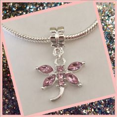 pink dragon fly charm Cute silver plated charmGreat addition to your charm bracelet Jewelry