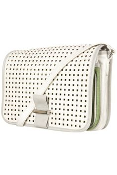 Topshop white perforated crossbody bag