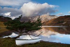 Beinn Eighe seen from Loch Coulin, Scottish Highlands.