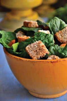 Our Avocado Almond Salad with Gluten-Free Cheesy Croutons is vegan and dairy free!