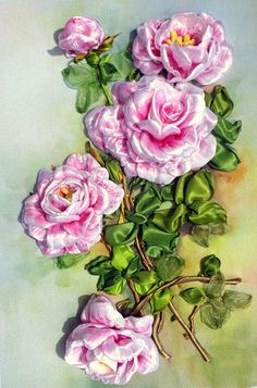 picture  silk ribbon embroidery roses от RibbonEmbroiderySilk