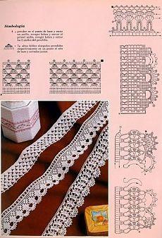 42 New Ideas For Crochet Lace Edging Haken Crochet Edging Patterns, Crochet Lace Edging, Crochet Motifs, Crochet Borders, Crochet Diagram, Crochet Chart, Thread Crochet, Crochet Trim, Knit Or Crochet