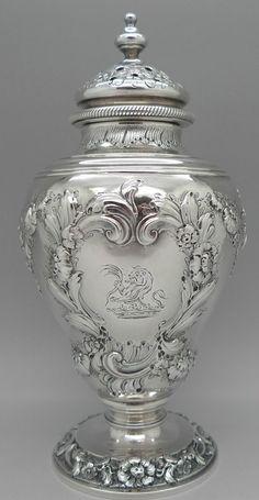 George II period sterling silver muffineer or sugar castor, by John Swift, London c1750 #SterlingSilverServingPieces