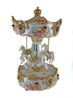 "Carousel Music Box   ... Windup - HORSE MUSICAL CAROUSEL - MUSIC BOX - 9"" Tall - Ornament New"