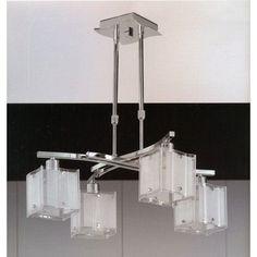 Lámpara de techo moderna de 4 luces, queda genial en salones, comedores o dormitorios. Sus tulipas de cristal y cuerpo metal cromado nos facilita poder combinarlo en cualquier ambiente moderno.